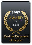 1997 AWARD  1st Place  On-Line Document of the year On-Line Document of the year